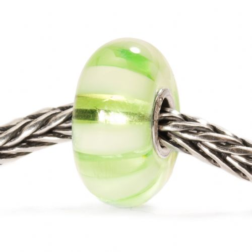 Trollbeads Light Green Stripe Glass Bead TGLBE-10246